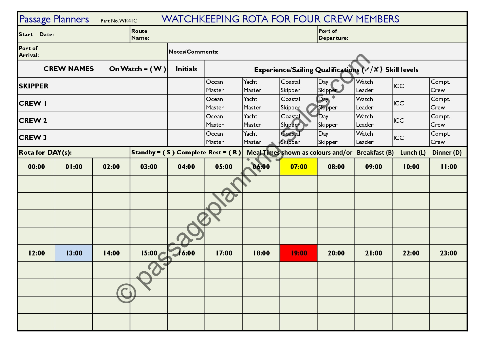 Watchkeeping Rota form for Four Crew Members (Size A4)